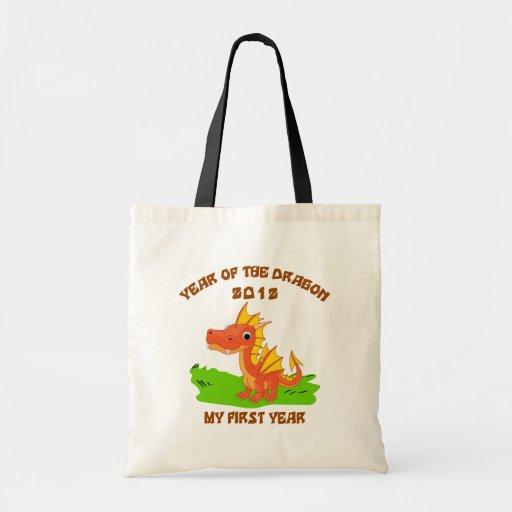 Año nacido del regalo 2012 del bebé del dragón bolsas lienzo