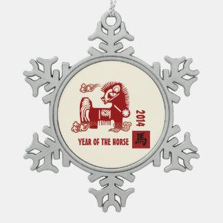 Año Nuevo 2014. Año chino de los ornamentos del Adorno De Peltre En Forma De Copo De Nieve