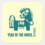 Año Nuevo 2014. Año chino de los pegatinas del Calcomanias Cuadradas