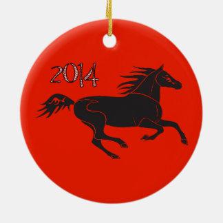 Año Nuevo chino 2014 años del ornamento del Adorno Navideño Redondo De Cerámica