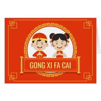 Año Nuevo chino de los niños alegres rojos Tarjeta Pequeña