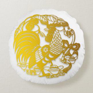 Año Nuevo chino de oro del gallo almohada de 2017 Cojín Redondo