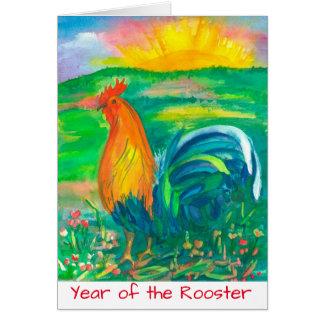 Año Nuevo chino del gallo Tarjeta De Felicitación