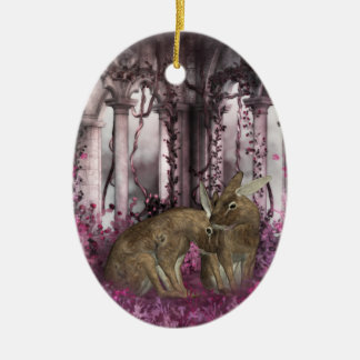 Año Nuevo chino del ornamento del conejo - año de Adorno Navideño Ovalado De Cerámica