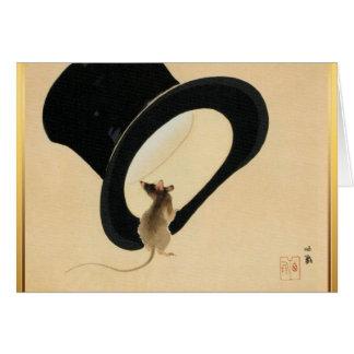 Año Nuevo chino del ratón y del sombrero de copa Tarjeta De Felicitación