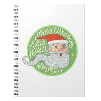 Año Nuevo feliz Papá Noel de las Felices Navidad Cuaderno