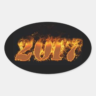 Año Nuevo que flamea al pegatina 2017