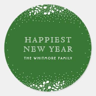Año Nuevo verde Pegatina Redonda