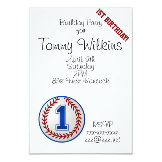 Año uno del cumpleaños del béisbol invitación 8,9 x 12,7 cm