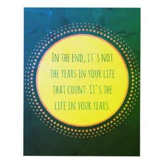 Años de arte de la pared de la cita de la vida