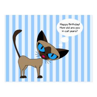 - Años del gato del feliz cumpleaños - postal siam