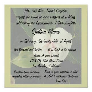 Anthurium del blanco de Quinceanera Invitación 13,3 Cm X 13,3cm