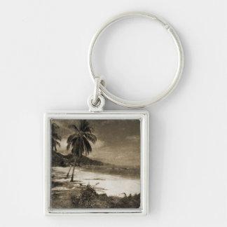 Antigüedad de Playa Los Caballos Llavero Cuadrado Plateado