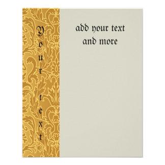 antigüedad, oro, damasco, modelo, vintage, floral, folleto 11,4 x 14,2 cm