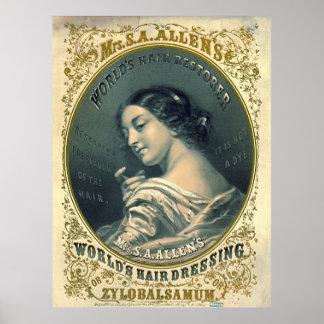 Anuncio 1860 del tónico de pelo póster