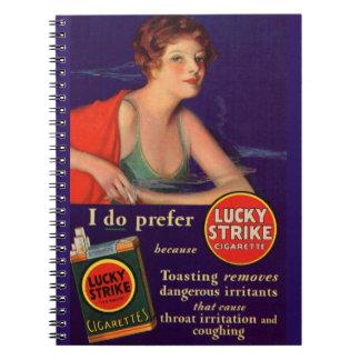 Anuncio afortunado del cigarrillo de los años 20 libreta espiral