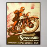 Anuncio alemán de la motocicleta del vintage poster