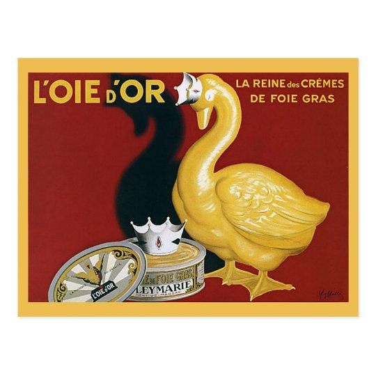 Anuncio de Foie Gras del francés del vintage Postal