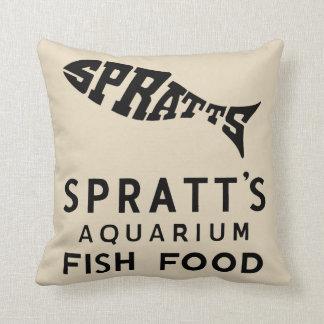 anuncio de la comida de pescados del vintage cojín decorativo