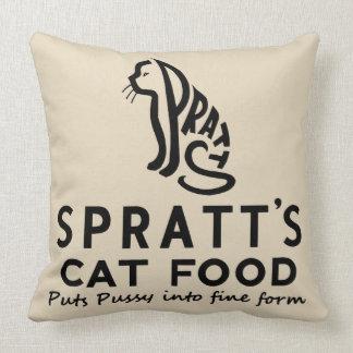 anuncio de la comida para gatos del vintage cojín decorativo