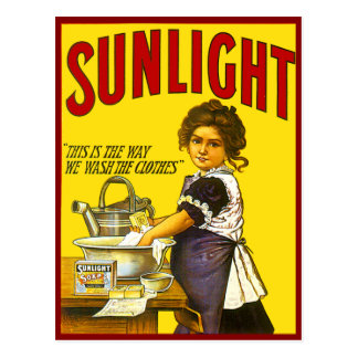Anuncio de la luz del sol del vintage postal