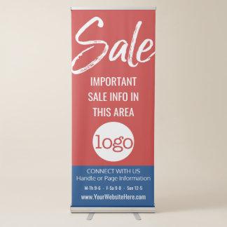 Anuncio de la venta - añada el azul rojo del pancartas retráctiles