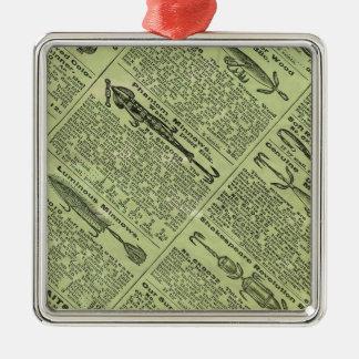 Anuncio de las artes de pesca adorno navideño cuadrado de metal