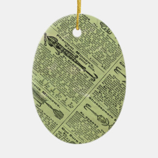 Anuncio de las artes de pesca adorno navideño ovalado de cerámica