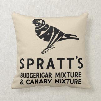 anuncio del budgie del budgerigar del vintage cojín decorativo