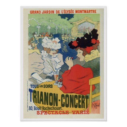 Anuncio del concierto de Trianon del jardín de Par Poster