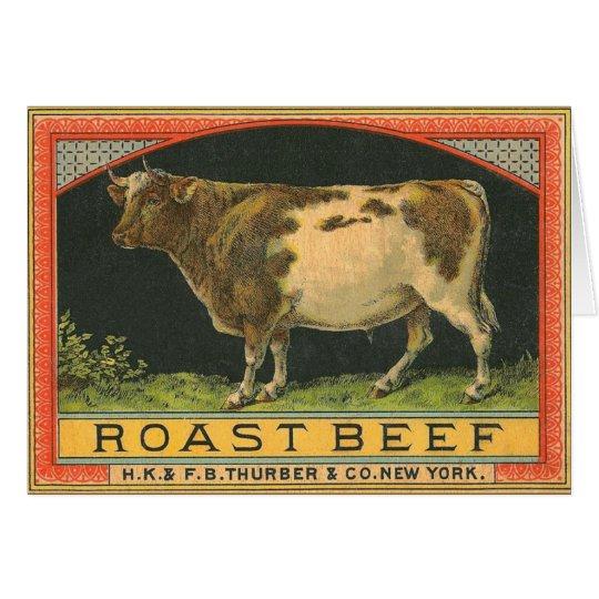 Anuncio del rosbif del vintage tarjeta de felicitación