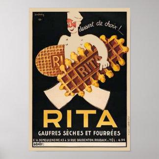 Anuncio del vintage de las galletas de Rita Póster