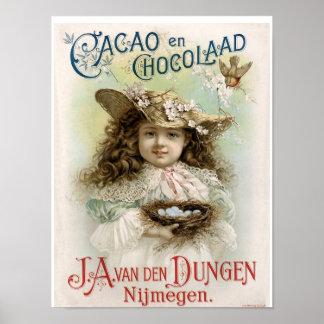 Anuncio del vintage del en Chocolaad del cacao - i Poster