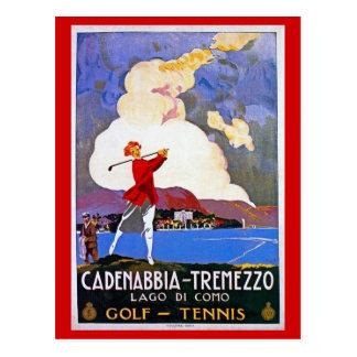 Anuncio italiano del viaje del golf de Como del Postal