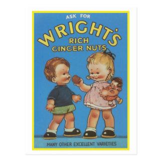 Anuncio Nuts del vintage del jengibre rico de Wrig Postal