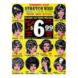 Anuncio retro de las pelucas $6,99 del estiramient tarjetas postales