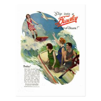 Anuncio retro del bañador del vintage a partir de postal
