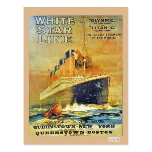 Anuncio titánico y olímpico de la línea blanca de  tarjetas postales