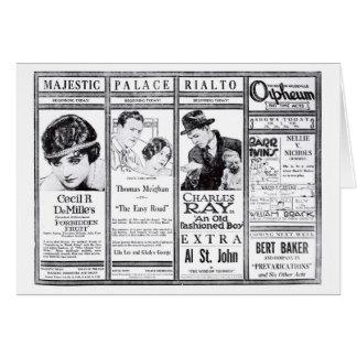 Anuncios silenciosos 1921 del teatro de Inés Ayres Tarjeta De Felicitación