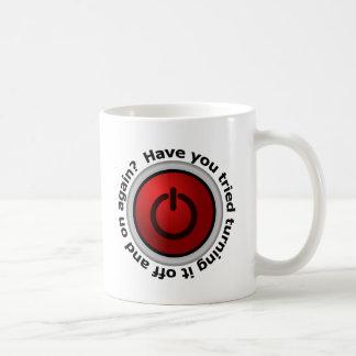 Apagúelo encendido y - logotipo del botón taza de café