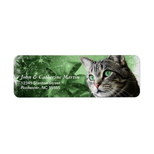 APAL - Gato de Tabby de plata del navidad Etiquetas De Remite