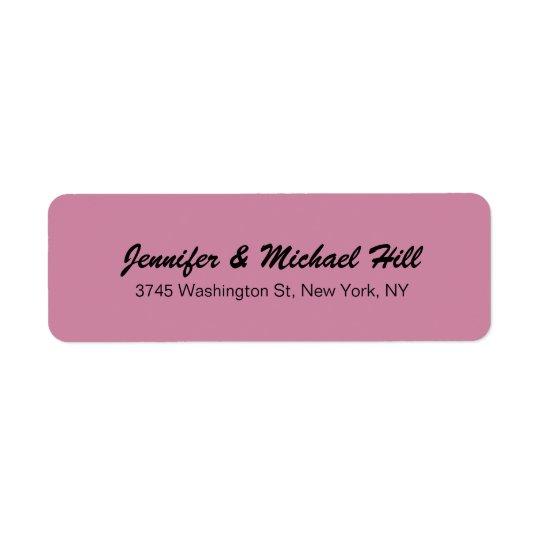 Apellido creativo único color de rosa polvoriento etiquetas de remite