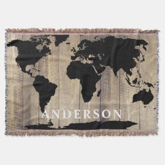 Apellido de madera rústico del mapa del mundo manta tejida