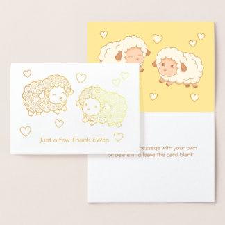 Apenas algunos agradecen ovejas de las ovejas tarjeta con relieve metalizado
