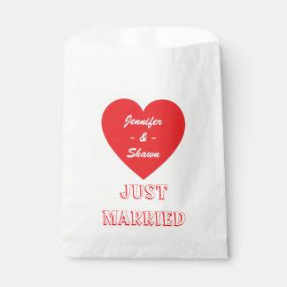 Apenas boda casado personalizado corazón rojo bolsa de papel