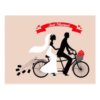 Apenas casada, la novia y el novio en el boda postal