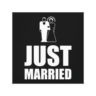 Apenas casado casando al novio de la novia impresión en lienzo