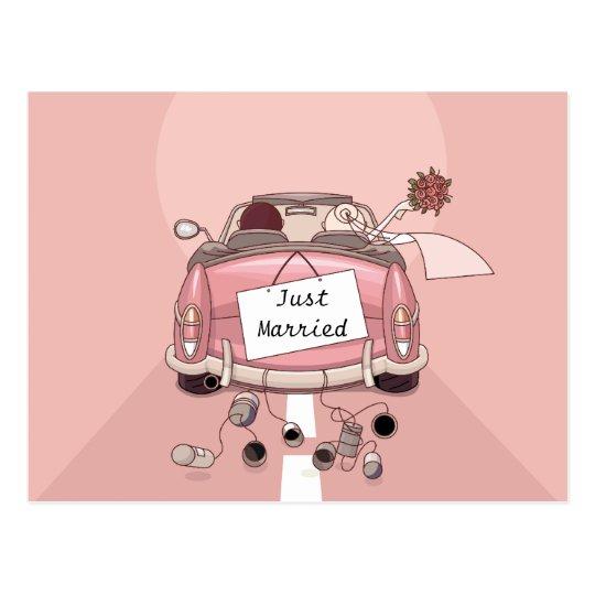Apenas casado casando la postal del amor de la
