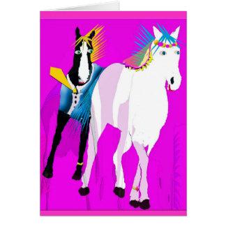 Apenas casado - colección caprichosa del caballo tarjeta de felicitación