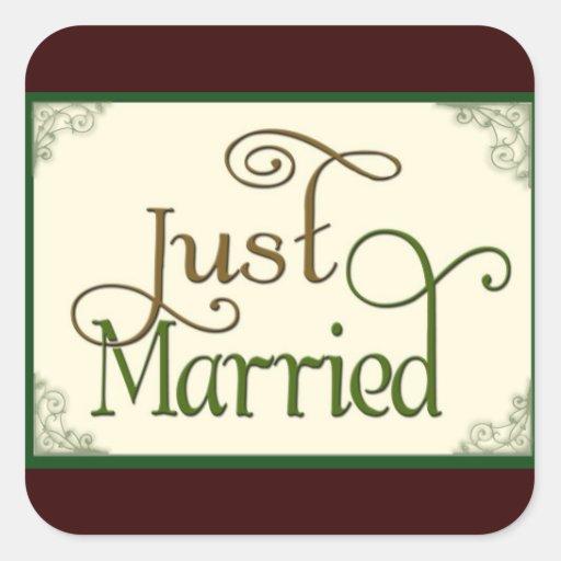 Apenas casado en fuente de la diversión del calcomania cuadradas personalizada